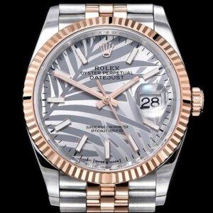 ROLEX Datejust 36mm 126233 904L YG/SS Gold Palm Dial on YG/SS Jubilee Bracelet EWF A3235